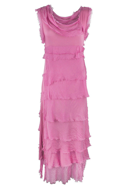 Gigi Sleeveless Long Ruffle Dress - Pink - Front