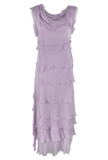 Gigi Sleeveless Long Ruffle Dress - Lavender - Front