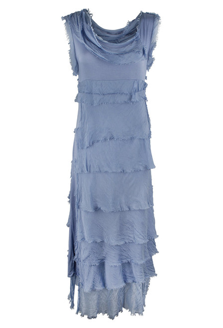 Gigi Sleeveless Long Ruffle Dress - Blue - Front