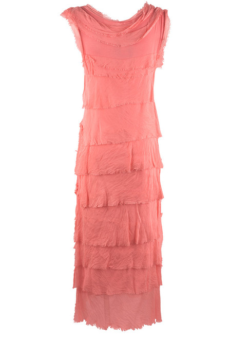 Gigi Sleeveless Long Ruffle Dress - Coral - Back