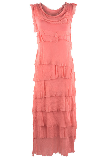 Gigi Sleeveless Long Ruffle Dress - Coral - Front