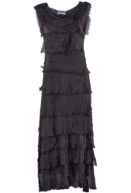 Gigi Sleeveless Long Ruffle Dress - Chocolate
