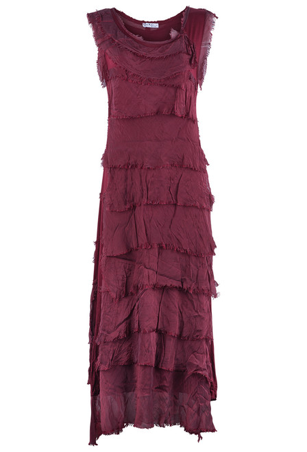 Gigi Sleeveless Long Ruffle Dress - Burgundy