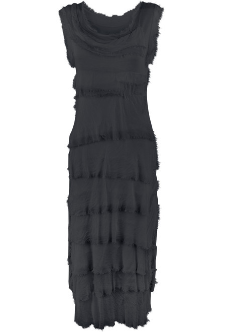 Gigi Sleeveless Long Ruffle Dress - Charcoal