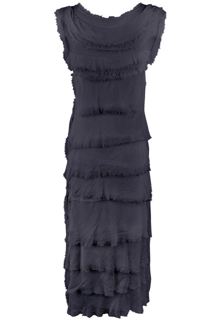 Gigi Sleeveless Long Ruffle Dress - Navy
