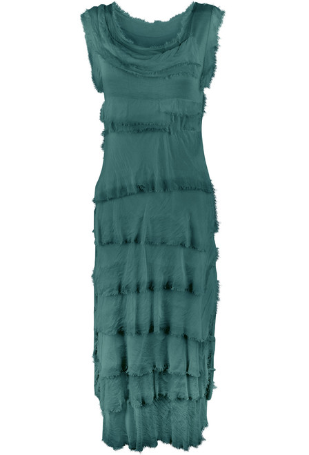 Gigi Sleeveless Long Ruffle Dress - Blue/Teal