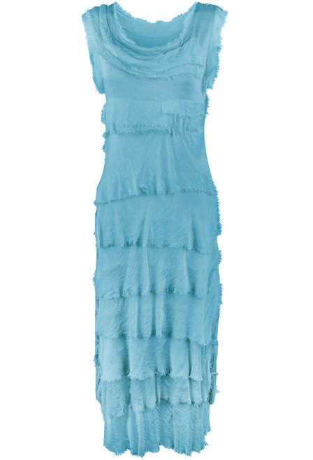 Gigi Sleeveless Long Ruffle Dress - Turquoise