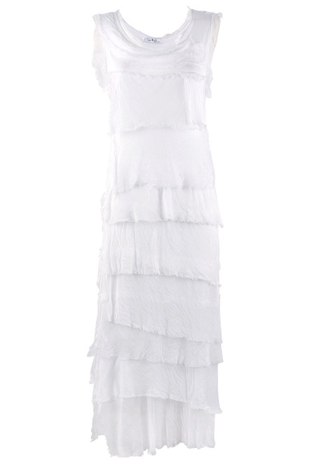 Gigi Sleeveless Long Ruffle Dress - White