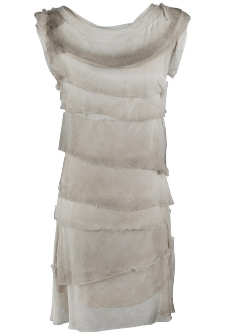 Gigi Sleeveless Short Ruffle Dress - Taupe - Back