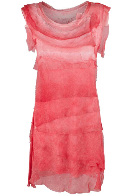 Gigi Sleeveless Short Ruffle Dress - Coral - Front