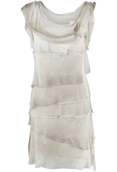 Gigi Sleeveless Short Ruffle Dress - Cream - Front