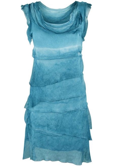 Gigi Sleeveless Short Ruffle Dress - Turquoise - Front