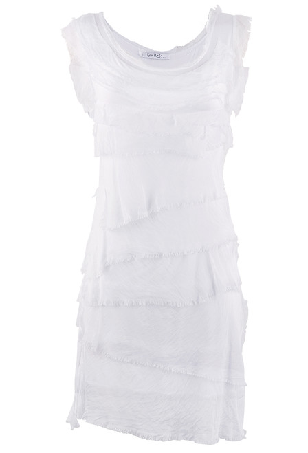 Gigi Sleeveless Short Ruffle Dress - White