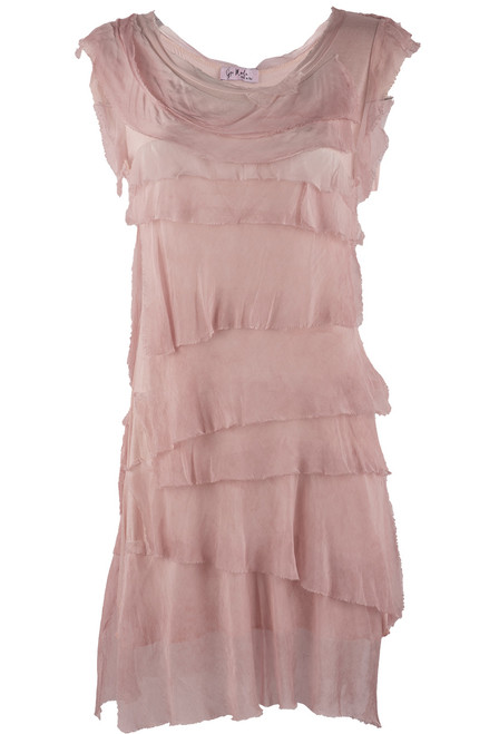 Gigi Sleeveless Short Ruffle Dress - Washed Pink