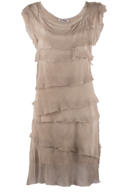 Gigi Sleeveless Short Ruffle Dress - Washed Taupe