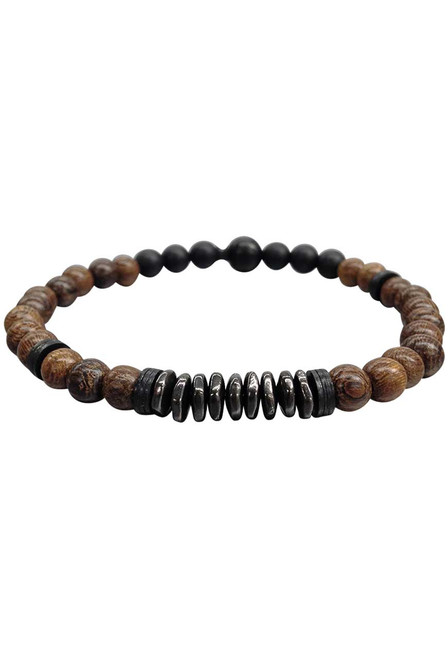 Kenton Michael Robles Wood and Gunmetal Stack Bracelet