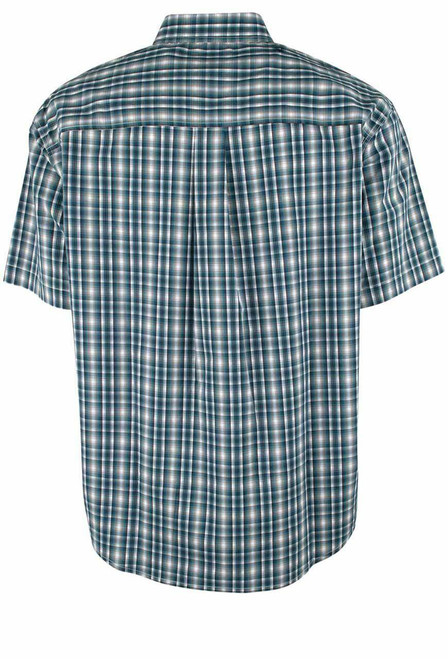 Cinch ArenaFlex Green and White Short Sleeve Plaid Shirt