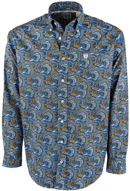 Cinch Blue and Gold Paisley Shirt - Front