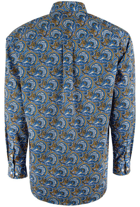Cinch Blue and Gold Paisley Shirt - Back