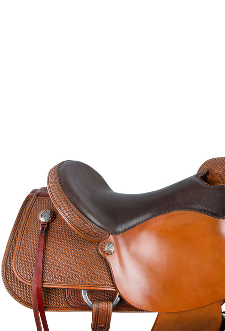 Pinto Ranch Ranch Cutting Western Saddle - Seat - Detail