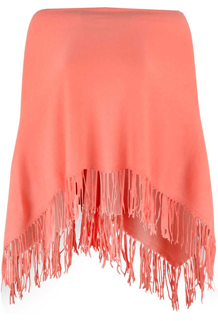 Carolina Grace Cotton and Cashmere Poncho -Sherbert - Front