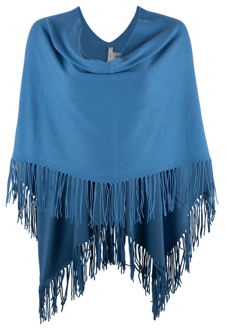 Carolina Grace Cotton and Cashmere Poncho- BBLUE  Front