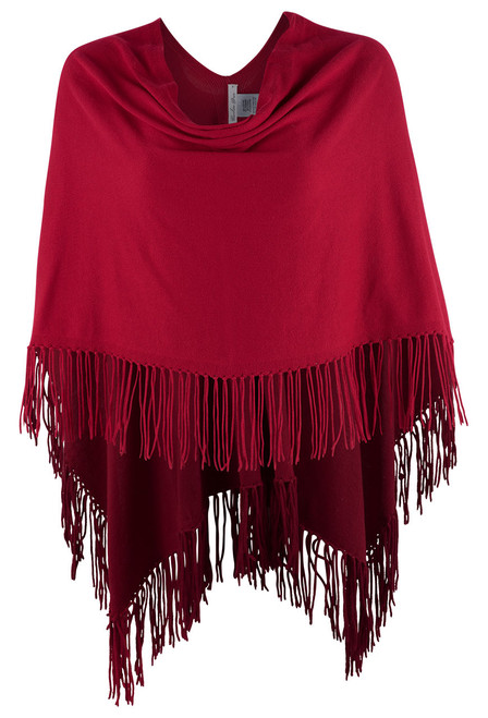 Carolina Grace Cotton and Cashmere Poncho- SCARLET- Front