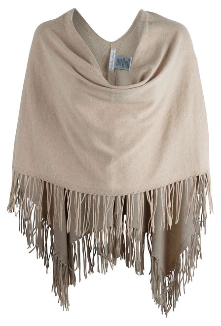 Carolina Grace Cotton and Cashmere Poncho  - DUNE- Front