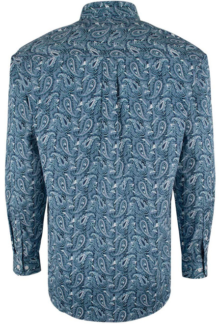 Cinch Blue and White Paisley Print Shirt - Back