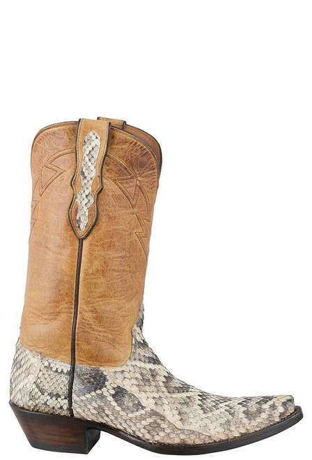 Black Jack for Pinto Ranch Men's Natural Eastern Rattlesnake Boots - Side