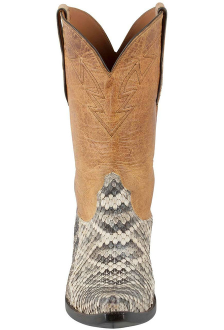 Black Jack for Pinto Ranch Men's Natural Eastern Rattlesnake Boots - Front
