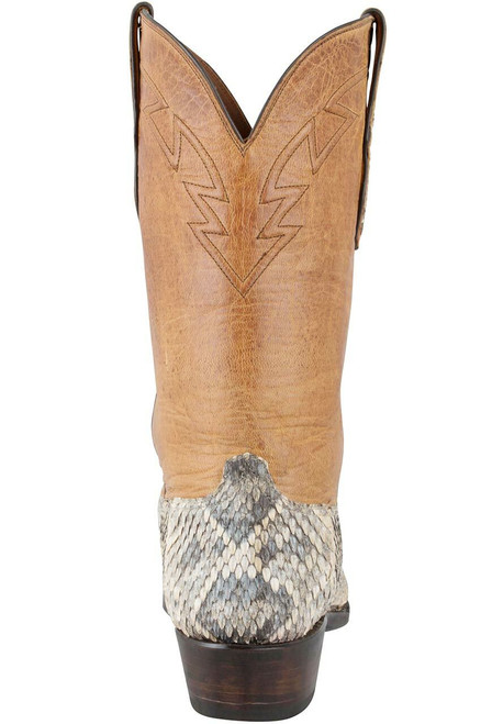 Black Jack for Pinto Ranch Men's Natural Eastern Rattlesnake Boots - Back