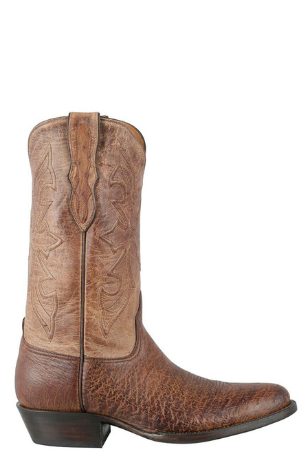 Black Jack for Pinto Ranch Men's Burnished Cigar Smooth Ostrich Boots-Side