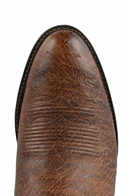 Black Jack for Pinto Ranch Men's Burnished Cigar Smooth Ostrich Boots-Toe