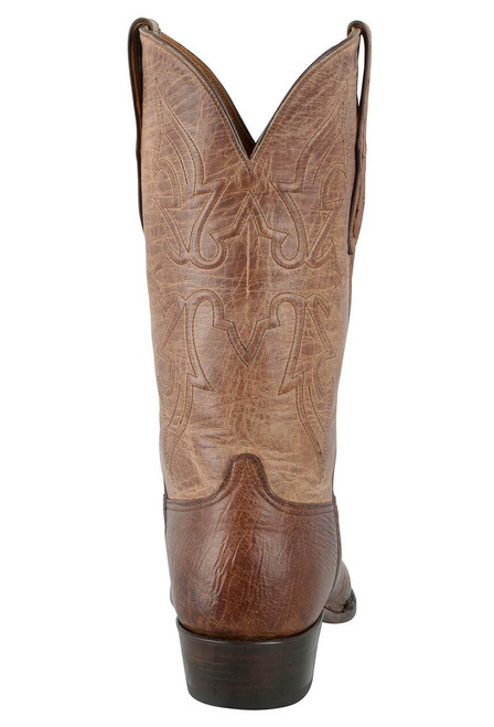 Black Jack for Pinto Ranch Men's Burnished Cigar Smooth Ostrich Boots-Back