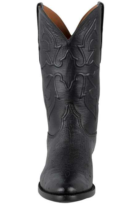 Black Jack for Pinto Ranch Men's Black Smooth Ostrich Boots -Front