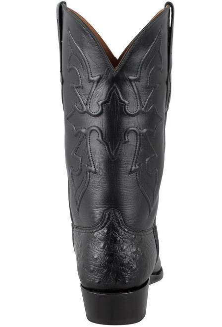 Black Jack for Pinto Ranch Men's Black Smooth Ostrich Boots -Back