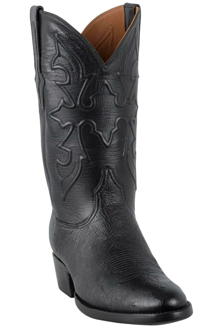Black Jack for Pinto Ranch Men's Black Smooth Ostrich Boots -Hero