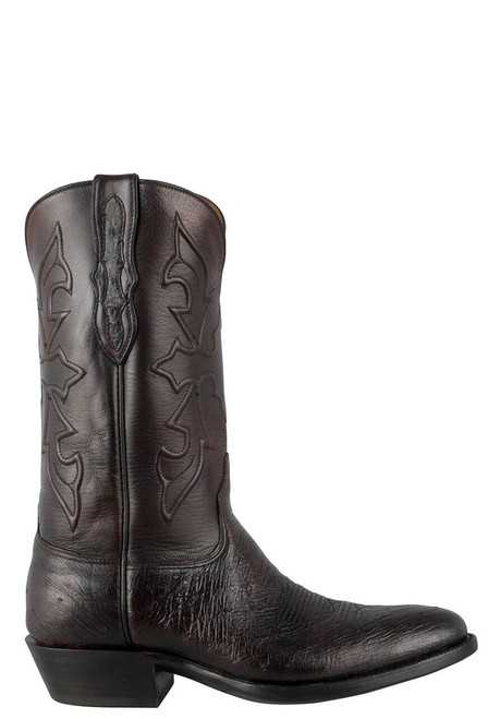 Black Jack for Pinto Ranch Men's Black Cherry Smooth Ostrich Boots - Side