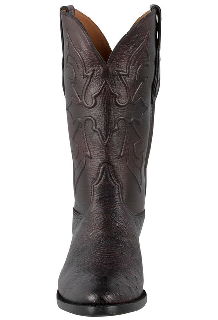 Black Jack for Pinto Ranch Men's Black Cherry Smooth Ostrich Boots -Front