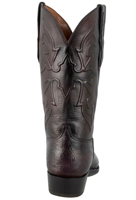 Black Jack for Pinto Ranch Men's Black Cherry Smooth Ostrich Boots -Back