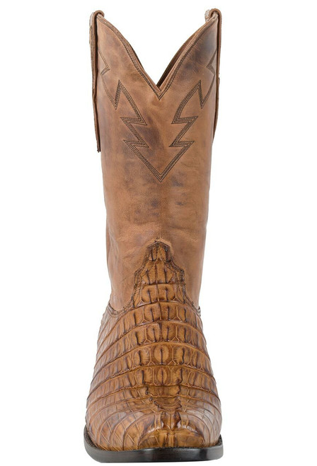 Black Jack for Pinto Ranch Men's Burnished Cognac Caiman Tail Boots - Front