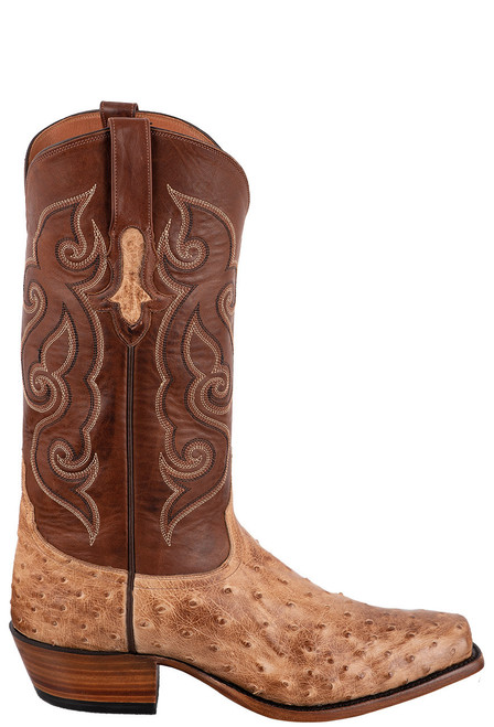 Tony Lama Signature Series Men's Antique Tan Vintage Full-Quill Ostrich Boots - Side