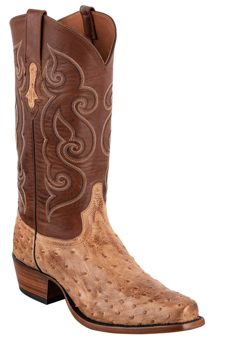 Tony Lama Signature Series Men's Antique Tan Vintage Full-Quill Ostrich Boots - Angle
