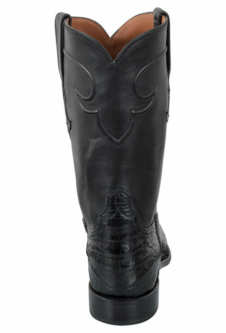 Tony Lama Signature Series Men's Black Caiman Belly Roper Boots  - Back