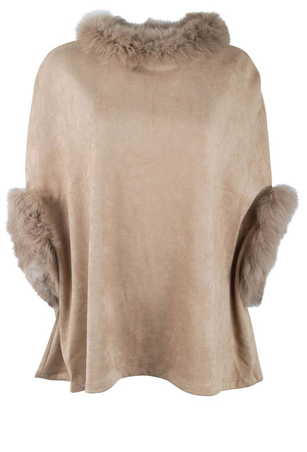 Dolce Cabo Fox Suede Poncho - Front