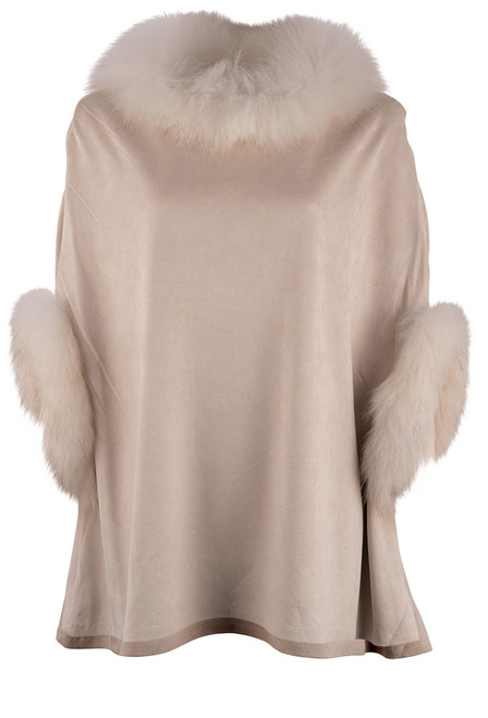 Dolce Cabo Raccoon Suede Poncho - Beige Front