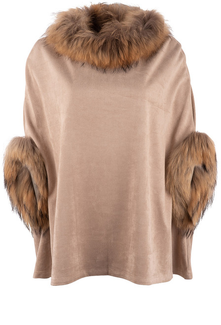 Dolce Cabo Raccoon Suede Poncho - Taupe Front