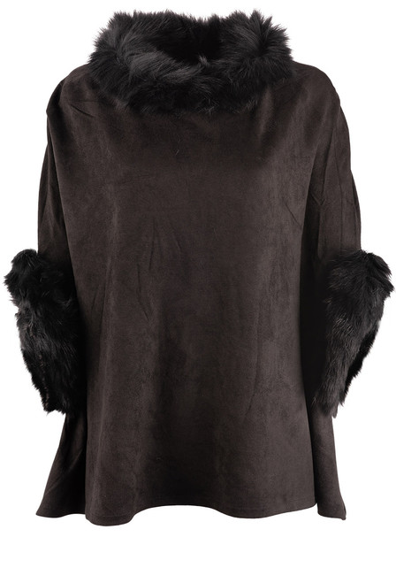 Dolce Cabo Raccoon Suede Poncho - Black