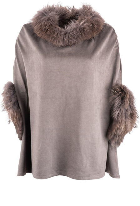 Dolce Cabo Raccoon Suede Poncho - Charcoal